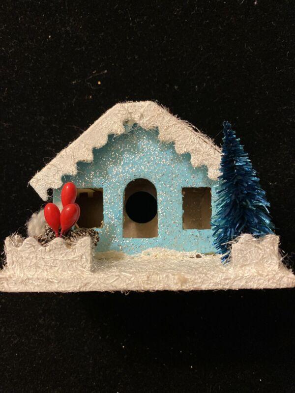 Vtg Blue Putz House Made In Japan Christmas village decor glitter MCM mica