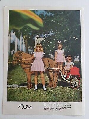 1947 Celeste Kleine Mädchen Pink Pinafore Kleider Esel Cart Ride Vintage Anzeige