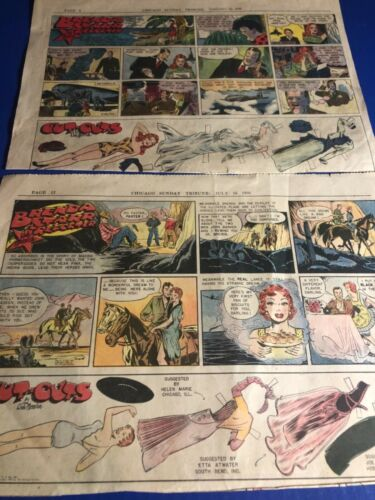 """1948 &1950 Brenda Starr Reporter 1/2 Page Cut-Outs Sunday Comics 14.5x10.5"""""""