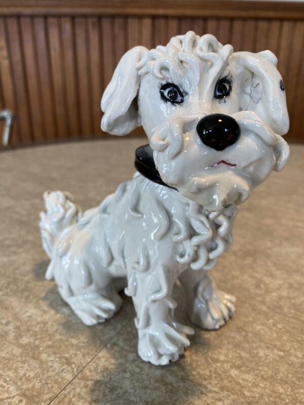 "Vintage Italian Ceramic Porcelain White Spaghetti Dog 6"""