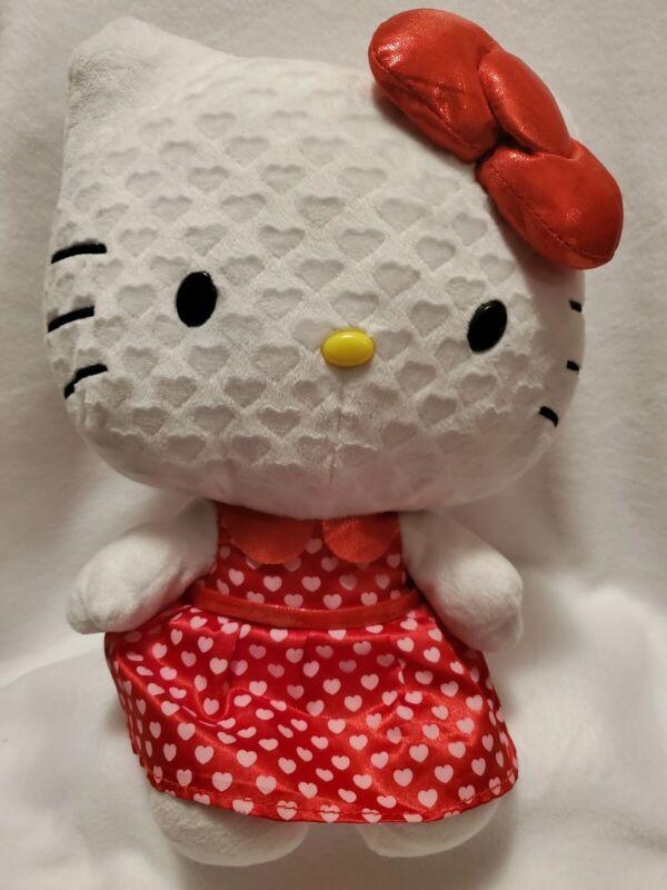 Sanrio Heart Hello Kitty Hearts Dress and Bow Basic Plush Doll Stuffed 16in cute