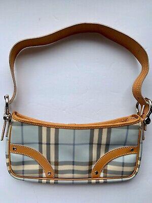 Authentic BURBERRY Nova Check Shoulder Bag Purse Handbag Light Blue & Beige