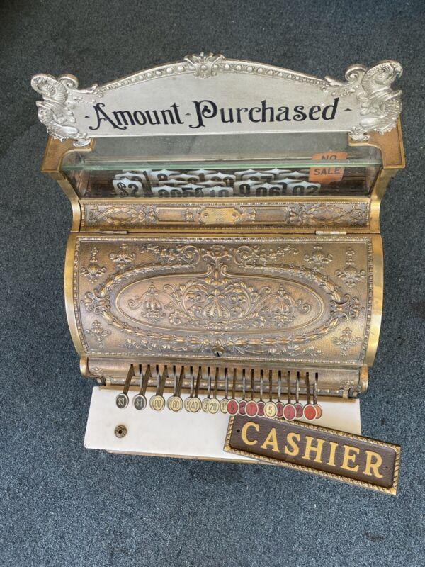 Antique National Cash Register Company Cash Model 332 Brass VG Condition W/ Sign