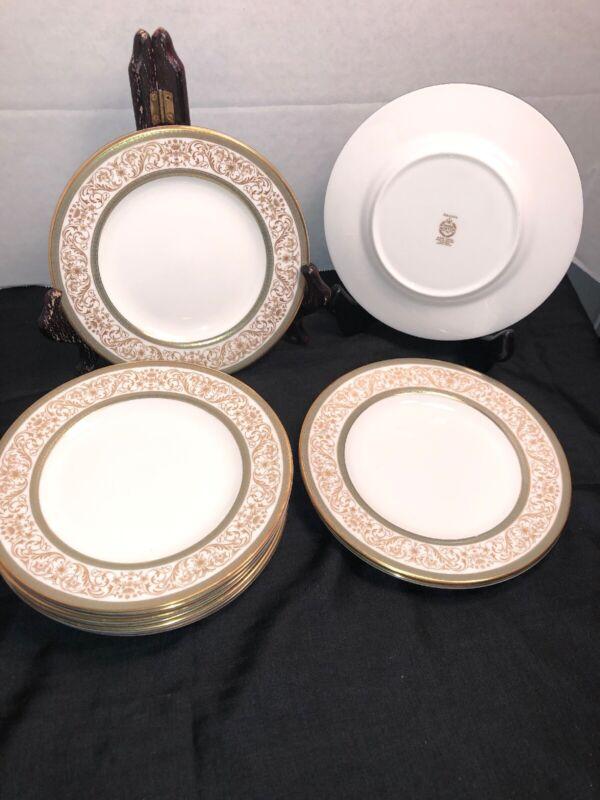 "MINTON Aragon Gold Cream Green  Bone China England 11 Bread & Butter Plates 6.5"""