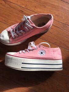 pink platform converse