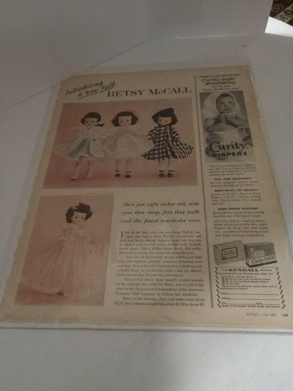 Betsy McCall Doll introduction Magazine Page July 1957. (6633)