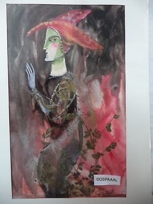 Cuban Artist Charo Hand Painting SIGNED HALLOWEEN RED HAT JESTER DARK SIDE HJ