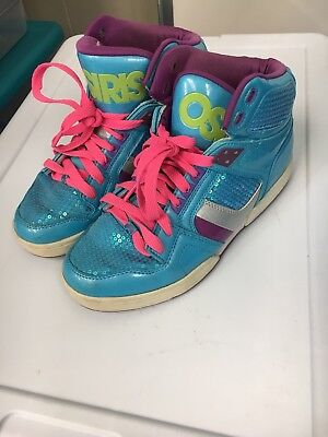 53d3aeb9a7ea Osiris NYC 83 SLM Youth Girls Size 8 Hi Top Sneaker Blue Silver Lime  21922070