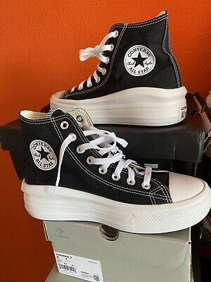 Converse Chuck Taylor All Star Move Trainers Black Platform Trainer Boots 6...