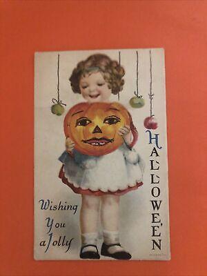 Jolly Halloween Postcard Ellen Clapsaddle Wolf No 1 Child Pumpkins 1920 Vintage
