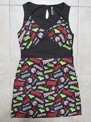 SOURPUSS Horror Monster Bloody DRESS Womens SMALL Punk Goth Halloween Death Bats
