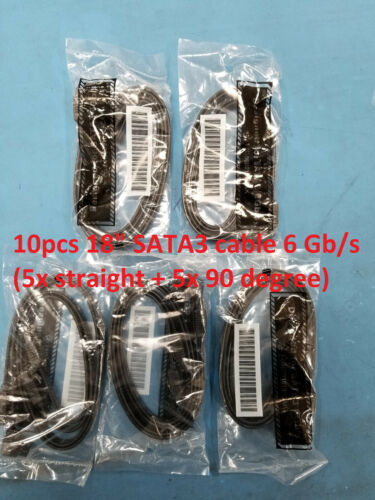 "10pcs (10pcs/Lot) 18"" SATA 3.0 cable 6 Gb/s (5x straight + 5x 90 degree) HDD dr"