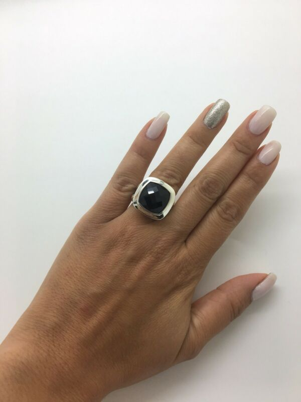 David Yurman .925 Sterling Silver 14mm Black Onyx Albion Ring Sz 5