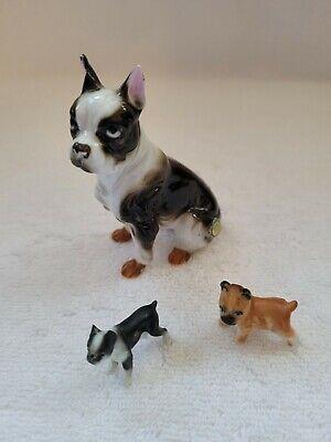 Bone China Japan paper label Boston Terrier small figurine 2 minitures lot of 3