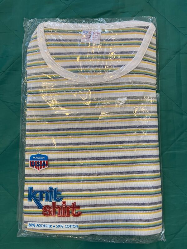 New Vintage 70s 909 Collection Striped Cotton T-Shirt USA Mens Size Large