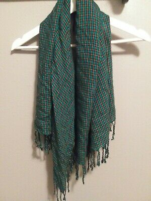 Urban outfitters Fringe Scarf Green Plaid A Peace Treaty