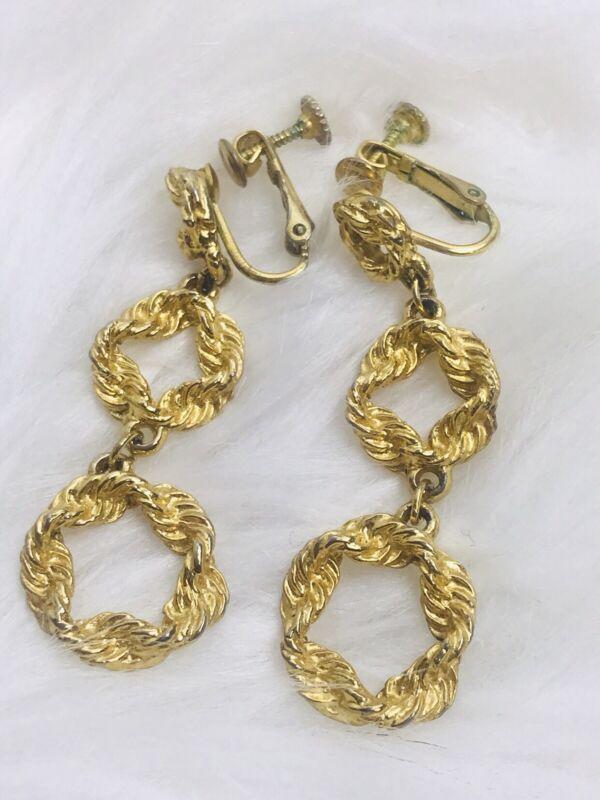 VINTAGE Gold Tone Rope Circle Screw Back Dangle ELEGANT CLIP Earrings Ear Rings