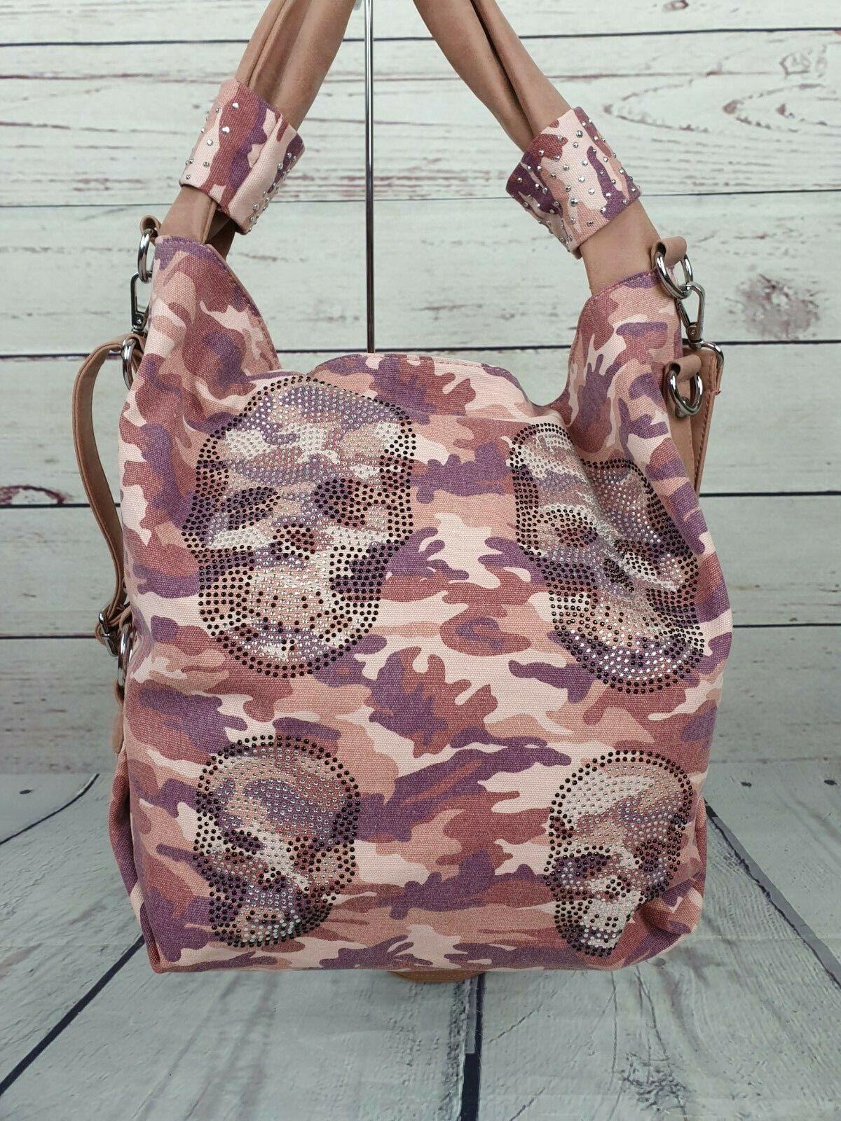 Damen Handtasche Totenkopf Skull Blogger Bag Tasche Rosa Strass Camouflage NEU