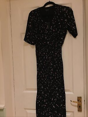 Selected Femme Black Patterned Pleated Wrap Long Dress Sz 38 (10) Vgc