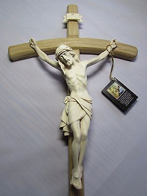Wall Crucifix -  Bowed Cross - All Natural Wood - Hand Carved - Made in Italy