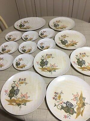 Vintage Rare Boontonware Somerset Melamac Mid Century Dishware USA ~ 15 Pieces