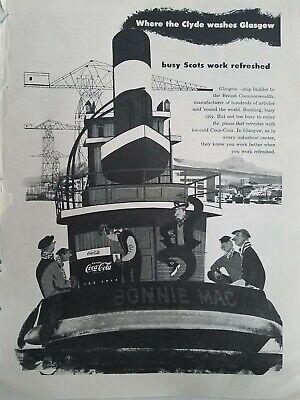 Antiquitäten Anzeigen (1950 Coca Cola Soda Flaschenkühler Bonnie Mac Boot Glasgow Anzeige)