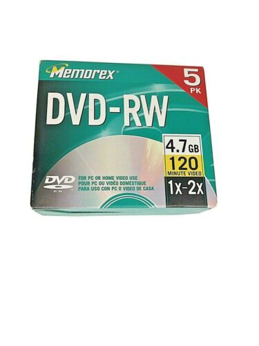 Memorex DVD-RW 5pk 1x 2x 4.7GB 120 Mins For PC Or Home Video Recorder
