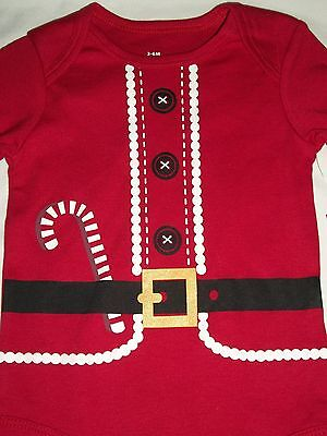 Santa Suit Red Christmas Long Sleeve Bodysuit 3-6 Months Boy Girl Baby Costume