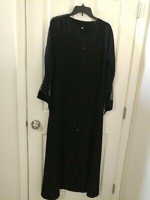 Muslim Kaftan Abaya Jilbab Islamic Women Long Sleeve Cocktail Maxi  Dress M