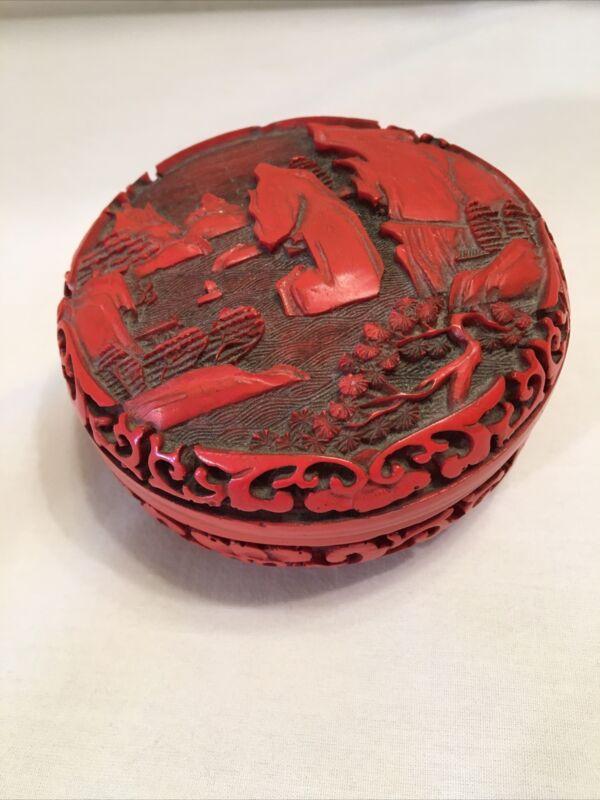 "Vintage Oriental red cinnabar resin carved  Round lidded box 3.5"" Diameter"
