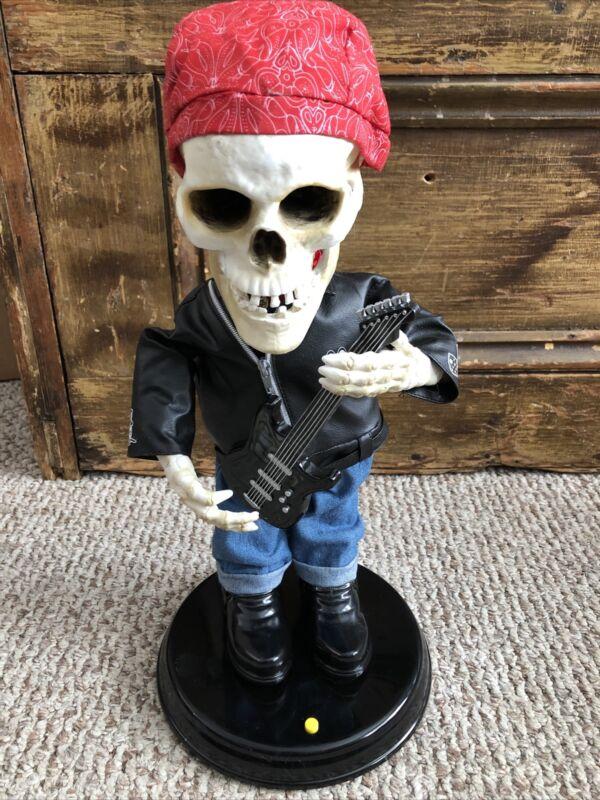 Gemmy Halloween Skeleton Dancing Guitar Biker Singing Dancing Rocker