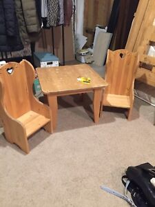 Child's wooden table and chairs