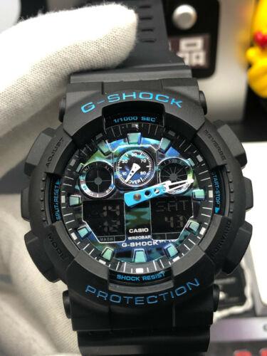 NEW G-Shock Ana-Digi Dial Black Resin Strap Chronograph Watch GA100CB-1A