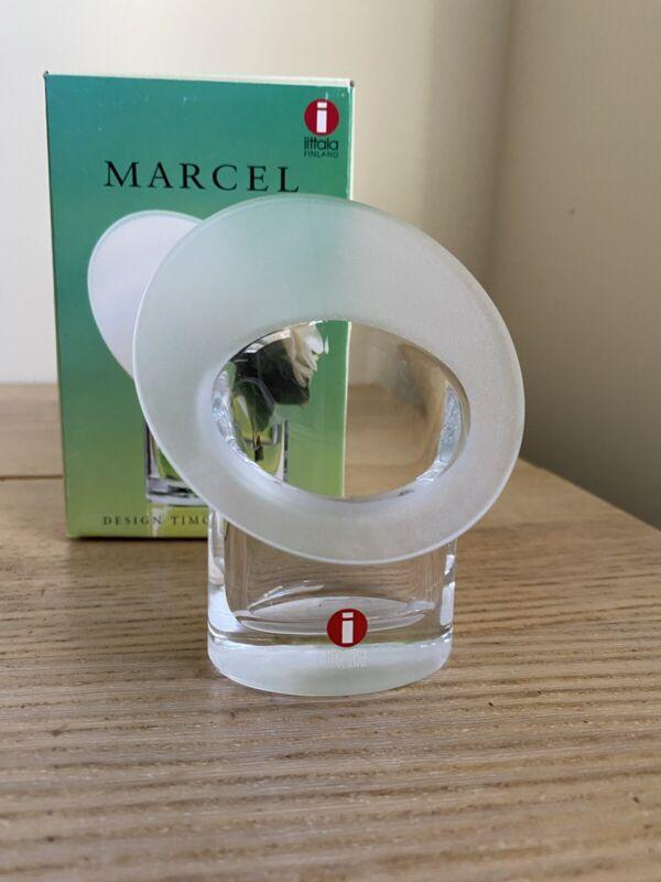 "Timo Sarpaneva Iittala Glass Finland  4"" MARCEL Bud VASE Signed 1997 w/ Box"