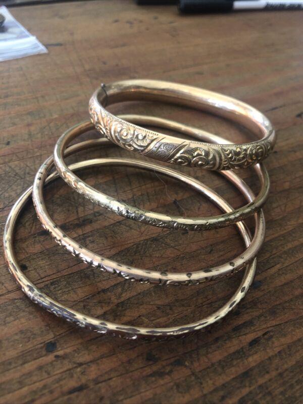 antique victorian gold filled bangle bracelets