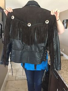 Women's leather jacket with fringe
