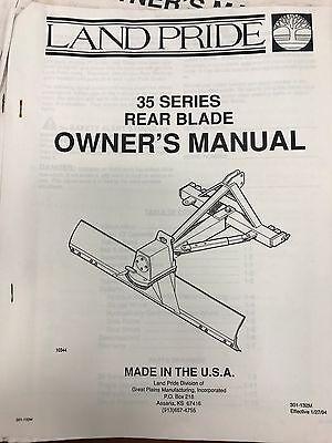 Land Pride Operators Manual 35 Series Rear Blades 301-132mused