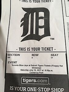 Sat July 15th 6pm Game 2 Tigers Tickets