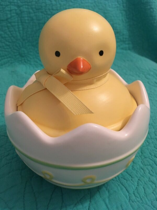 "Hallmark 6 1/2"" Ceramic Easter Egg W/Lid ""PEEPING"" Sound Chick"