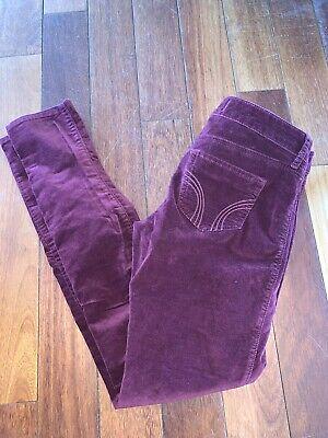 Hollister Velvet Pants size 5 Reg- Burgundy Soft Pants GUC