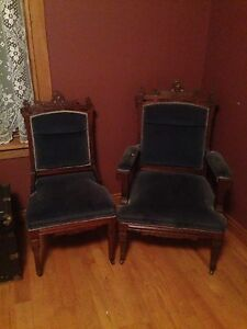 Antique walnut blue 3 piece furniture  chairs settee