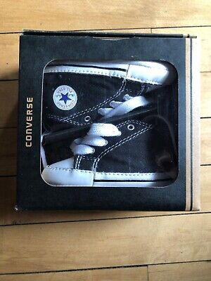 Converse Baby Crib Shoes Size 3 Soft Black Hi Tops First Star