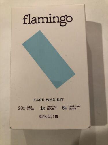 Flamingo Face Wax Kit 0.17 Fl Oz 20 Strips/1 Calming Serum/6 Post-Wax Clothes - $11.00