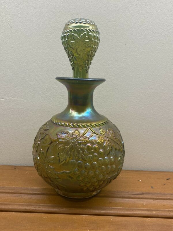 Northwood Grape And Cable Carnival Glass Cologne Bottle Green