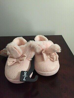 Girls Bunny Slippers (BRAND NEW TODDLER GIRLS SIZE 7-8 WONDER NATION BUNNY EARS)