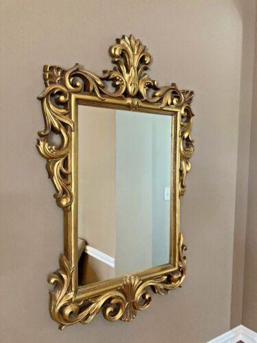 Vintage Rococo Baroque Style Gold Gilt Framed Decorative Scroll Wall Mirror