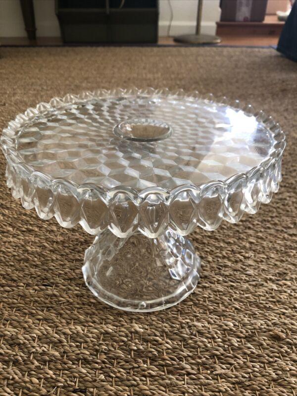 "Vintage Fostoria American Round Pedestal Cake Stand  10"" with Rum Well"