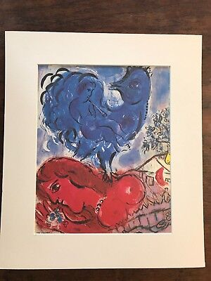 "Marc CHAGALL  OFF SET LITHOGRAPH 1975 MATTED 14.25"" X 12.25"""