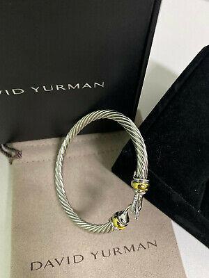 David Yurman Hinge Cable Buckle Bracelet 750 18K gold Classic Sterling Silver David Yurman Gold Bracelet
