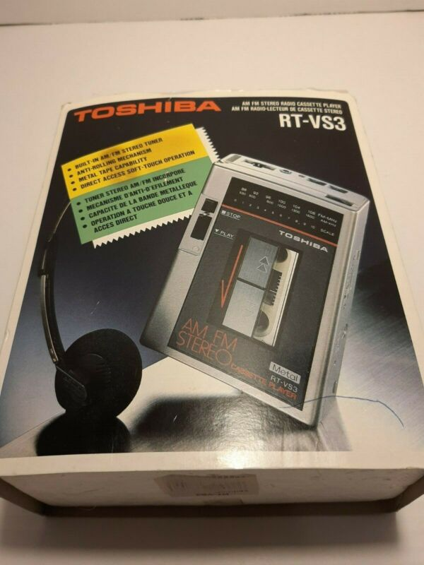 Rare Vintage Toshiba RT-VS3 Walkman Cassette + AM/FM Radio In-Box with manual